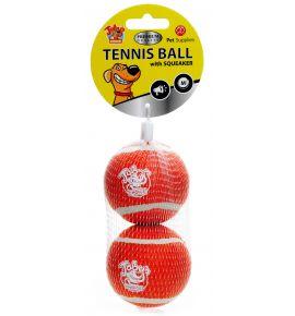 TENNIS BALL WITH SQUEAKER 2PAK MEDIUM