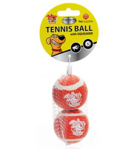 TENNIS BALL WITH SQUEAKER 2PAK SMALL